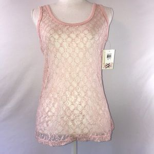 🌵New Ransom Pink Junior's Lace Large Tank Top
